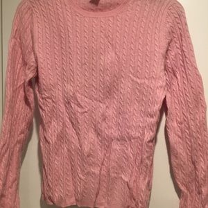 Anne Klein sport pink cashmere cable knit sweater